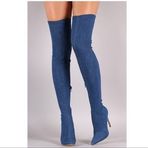 Lilliana Thigh High Over The Knee Denim Boots sz 7